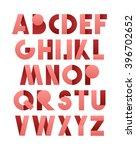retro font in pink. alphabet... | Shutterstock . vector #396702652
