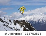 flying snowboarder on mountains.... | Shutterstock . vector #396703816
