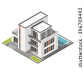 modern three storey house with... | Shutterstock .eps vector #396709492