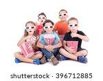 little kids watching movies... | Shutterstock . vector #396712885