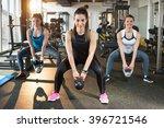 three pretty girls workout in... | Shutterstock . vector #396721546