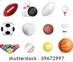 set of sports balls icons on...