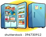 refrigerator with full of food. ... | Shutterstock .eps vector #396730912