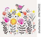 cute little bird in floral...   Shutterstock .eps vector #396736552