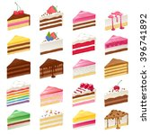 colorful sweet cakes slices... | Shutterstock .eps vector #396741892