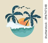 summer badge with wave palm... | Shutterstock .eps vector #396747148