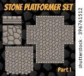 vector stone platformer tiles... | Shutterstock .eps vector #396761512