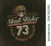 grunge racing logo with a skull ... | Shutterstock .eps vector #396762592