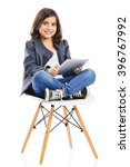 young girl sitting on a chair... | Shutterstock . vector #396767992