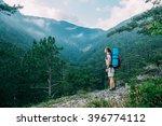 caucasian hiker woman on trek... | Shutterstock . vector #396774112