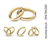 Vector Set Of Gold Wedding...