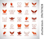 wings icons set isolated on... | Shutterstock .eps vector #396787828