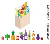 paper groceries bag full of... | Shutterstock .eps vector #396814195