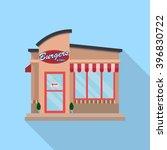 flat burger restaurant building ... | Shutterstock .eps vector #396830722