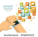 smart watch using concept. man... | Shutterstock .eps vector #396833422