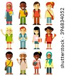 different school children stand ... | Shutterstock .eps vector #396834052