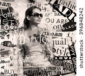 modern teenage girl on grunge... | Shutterstock . vector #396848242