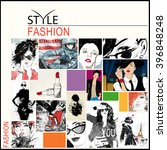 fashion collage with freehand... | Shutterstock . vector #396848248
