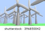 Wind Energy Turbine in 3D illustration - stock photo
