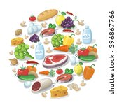 common everyday food products... | Shutterstock .eps vector #396867766