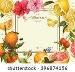 vector vintage citrus frame... | Shutterstock .eps vector #396874156