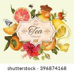 vector vintage citrus banner...   Shutterstock .eps vector #396874168