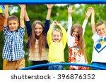 happy excited kids having fun... | Shutterstock . vector #396876352