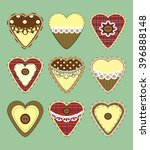 set of vintage hearts with...   Shutterstock .eps vector #396888148