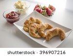 homemade croissant bread served ... | Shutterstock . vector #396907216