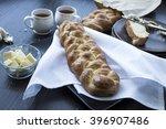 homemade braided garlic challah ... | Shutterstock . vector #396907486