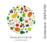 hand drawn foods for brain... | Shutterstock .eps vector #396914785