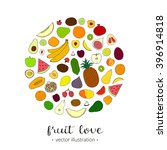 hand drawn fruits in circle on... | Shutterstock .eps vector #396914818