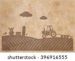 rural landscape  texture of old ... | Shutterstock .eps vector #396916555