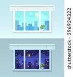 window and city view.  night... | Shutterstock .eps vector #396924322
