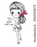 sketch pretty girl | Shutterstock .eps vector #396932875