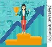 cheerful woman on pedestal. | Shutterstock . vector #396965962