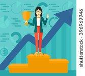 cheerful woman on pedestal. | Shutterstock .eps vector #396969946