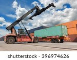forklift handling container box ... | Shutterstock . vector #396974626