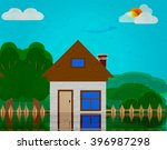 illustration of a house flooded ... | Shutterstock . vector #396987298