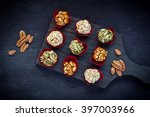 candied caramelized nuts on... | Shutterstock . vector #397003966
