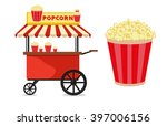 popcorn cart carnival store and ... | Shutterstock .eps vector #397006156