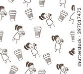 funny girl and coffee pattern | Shutterstock .eps vector #397017472