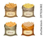 four untied sacks with cereal... | Shutterstock .eps vector #397026382