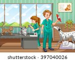 two vets healing many pet in... | Shutterstock .eps vector #397040026