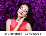 beautiful young brunette... | Shutterstock . vector #397040086