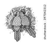 two pigeons birds on branch...   Shutterstock . vector #397042312