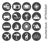 travel and transportation icons ... | Shutterstock . vector #397043365