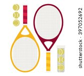 vector set of tennis rackets... | Shutterstock .eps vector #397052692