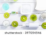 beauty products with kiwi fruit ... | Shutterstock . vector #397054546