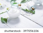 spa setting with cosmetic cream ... | Shutterstock . vector #397056106